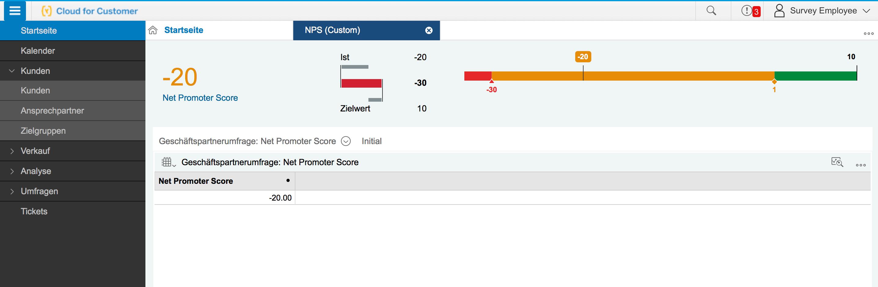 Darstellung des NPS in SAP Hybris C4C