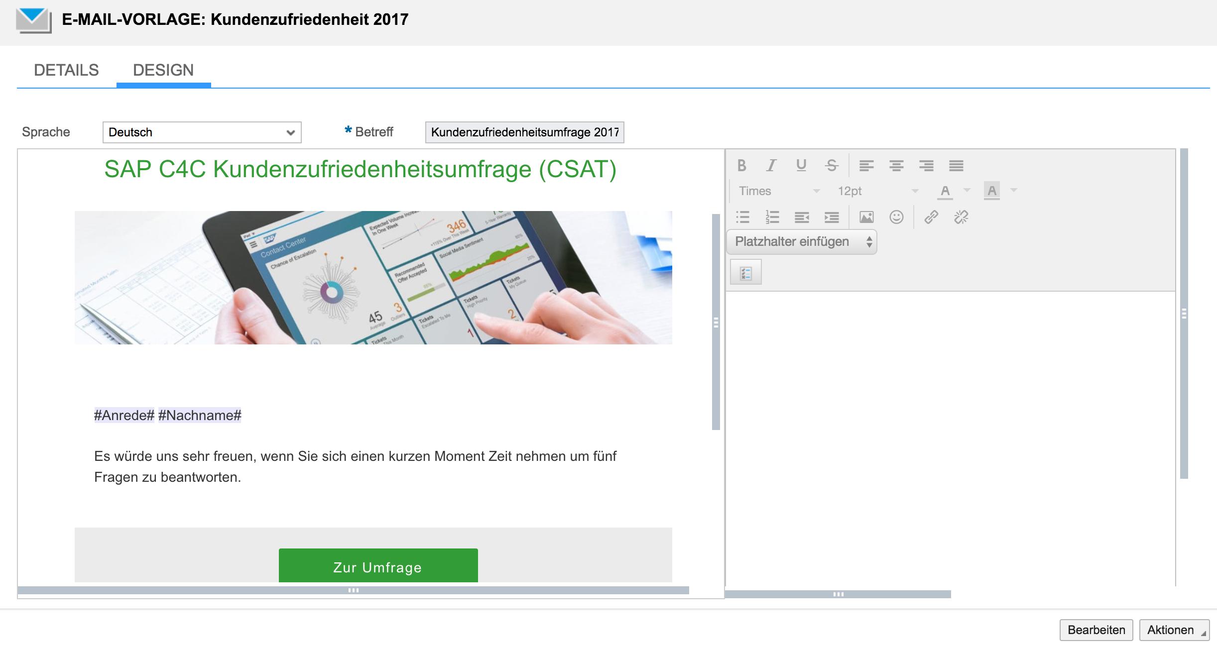 Vorlage für Newsletter in SAP Hybris C4C erstellen