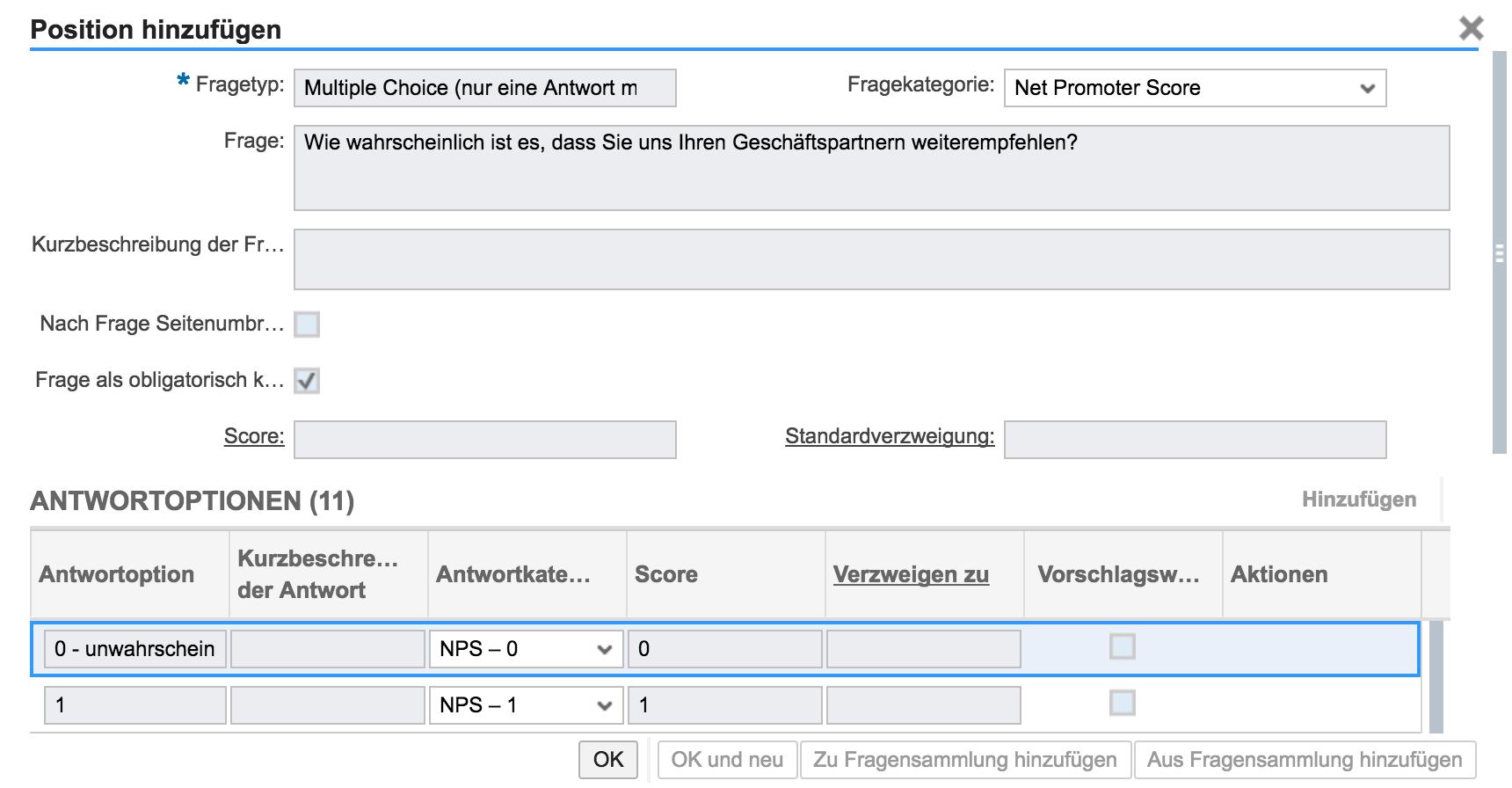 Erstellen NPS in SAP Hybris Cloud for Customer