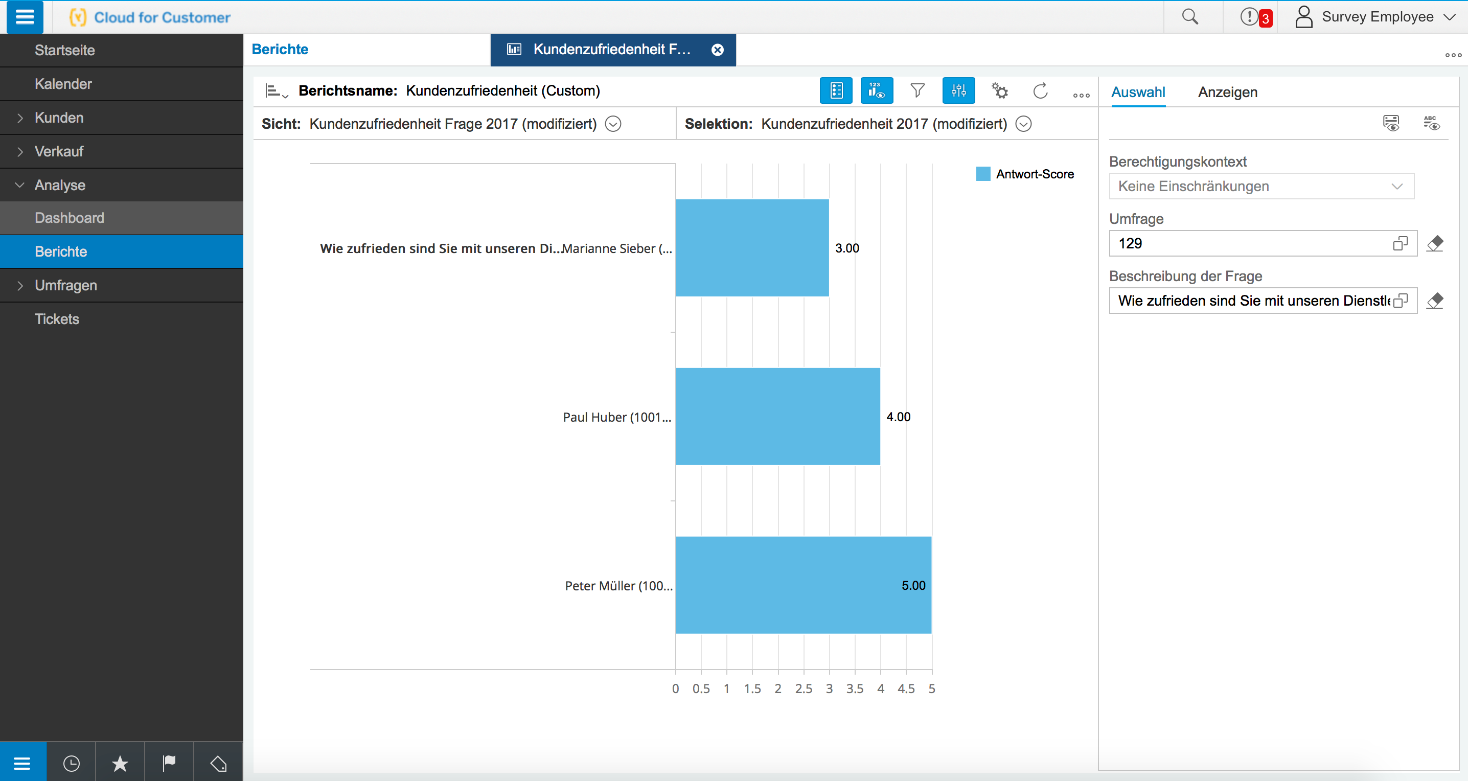SAP Hybris C4C Kundenzufriedenheit Analyse einer einzelnen Frage