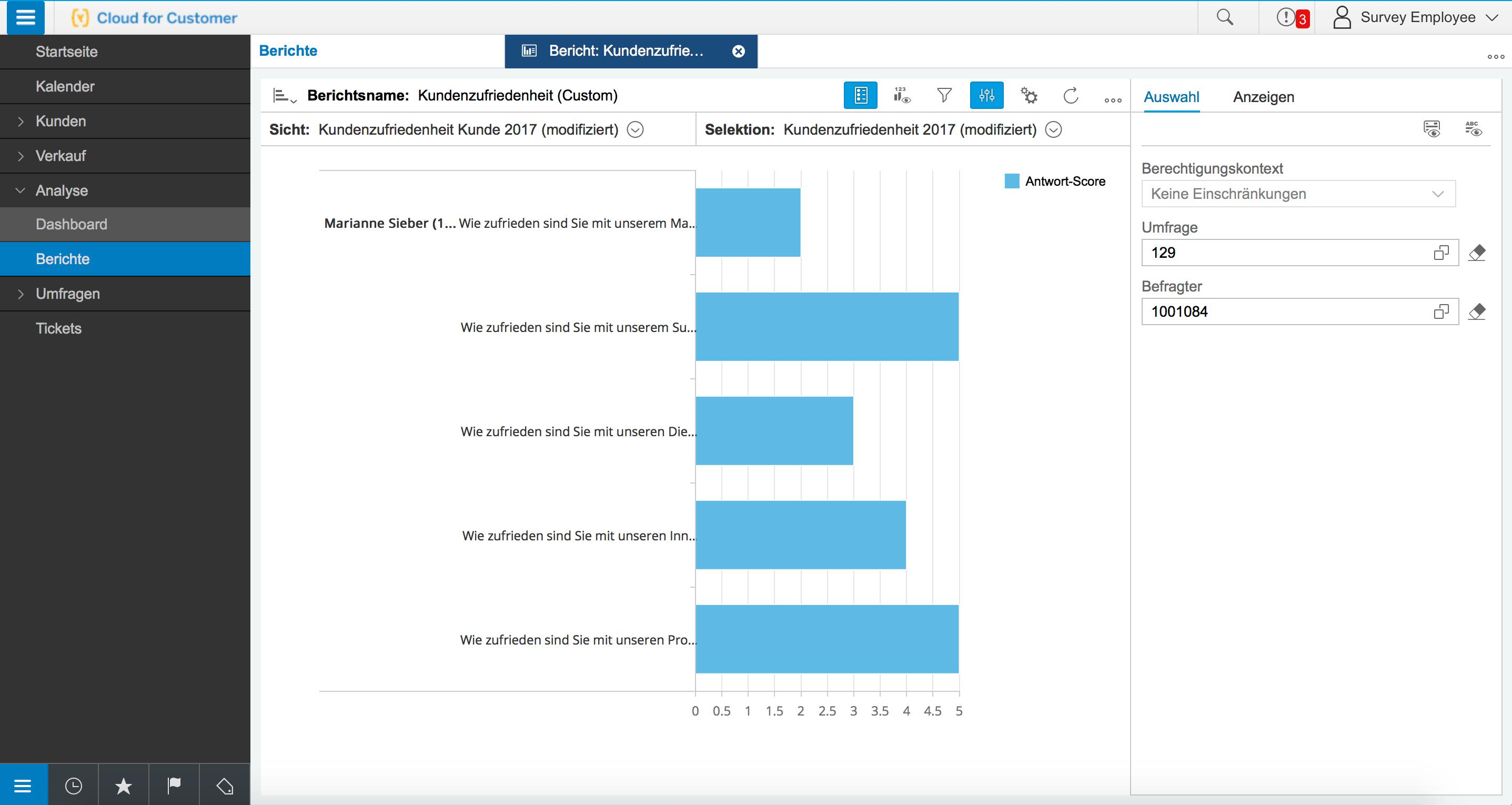 SAP Hybris C4C Kundenzufriedenheit Analyse eines einzelnen Kunden