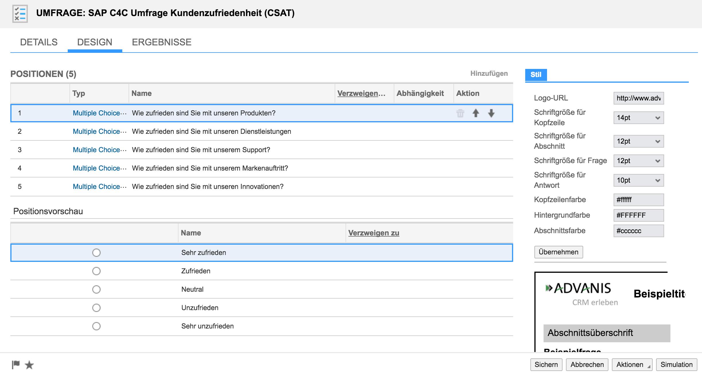 Erstellen einer Kundenzufriedenheits-Umfrage in SAP Hybris C4C