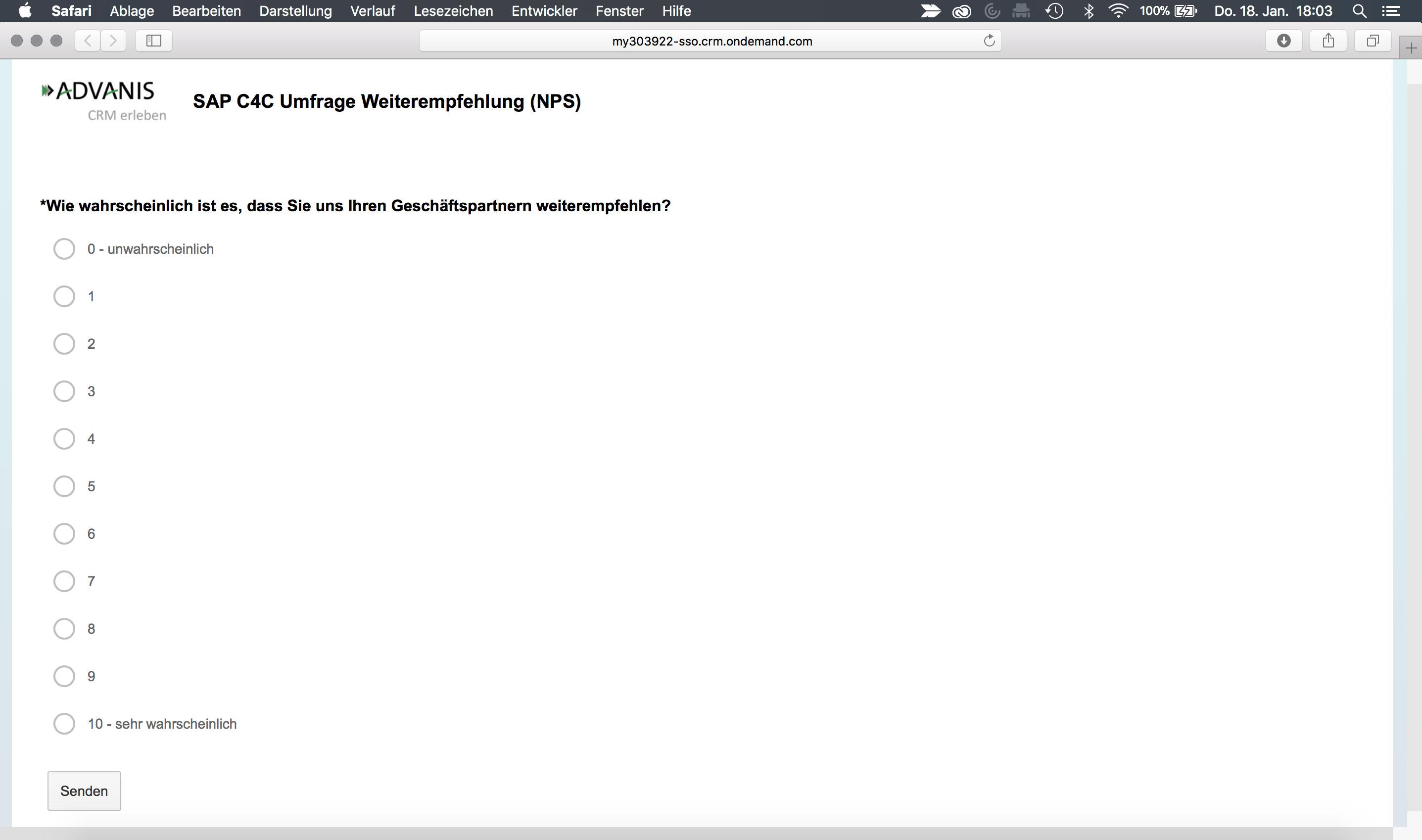 SAP Hybris C4C ersellen Net Promoter Score