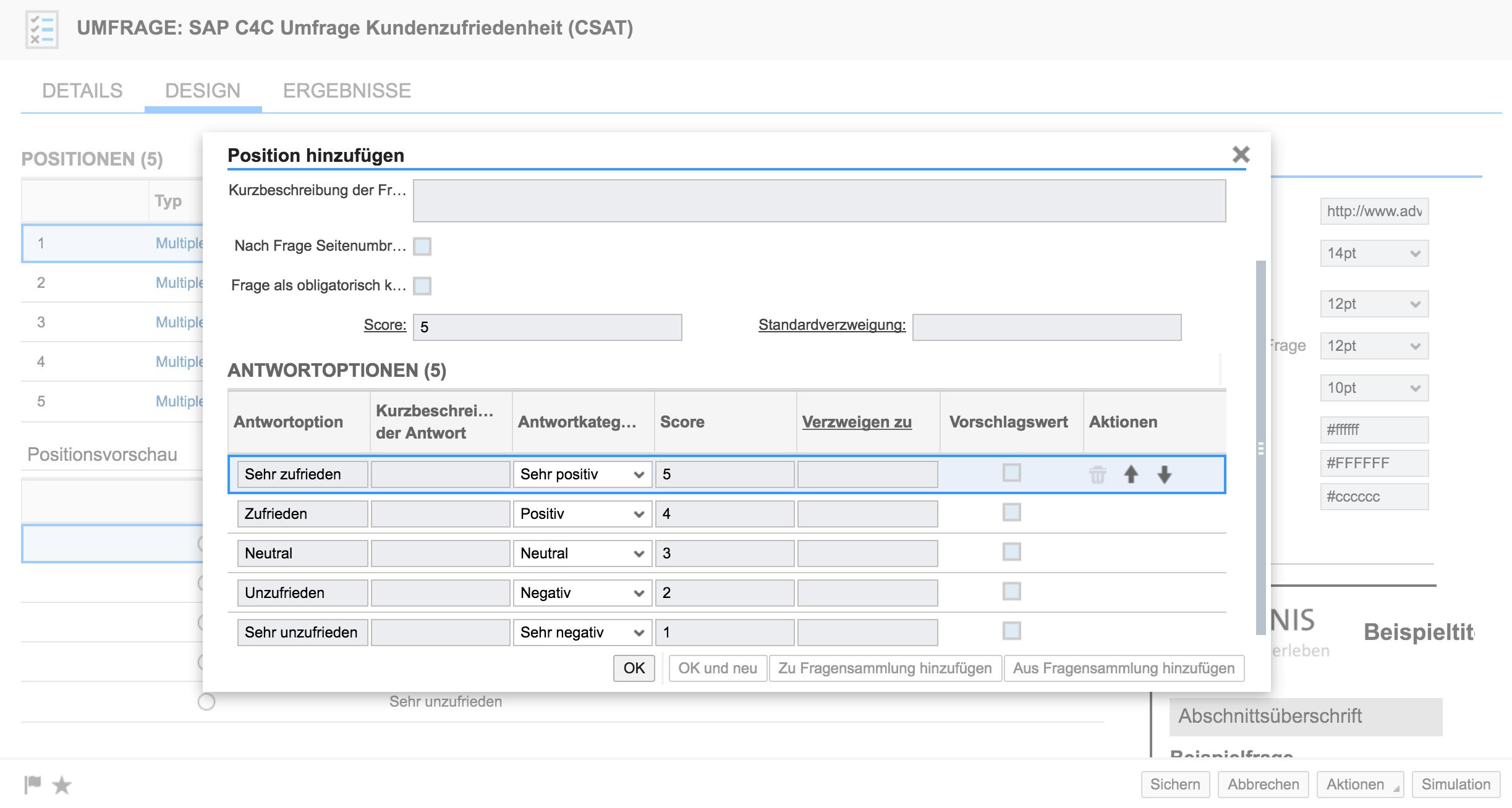 Erstellen des CSAT in SAP Hybris Cloud for Customer