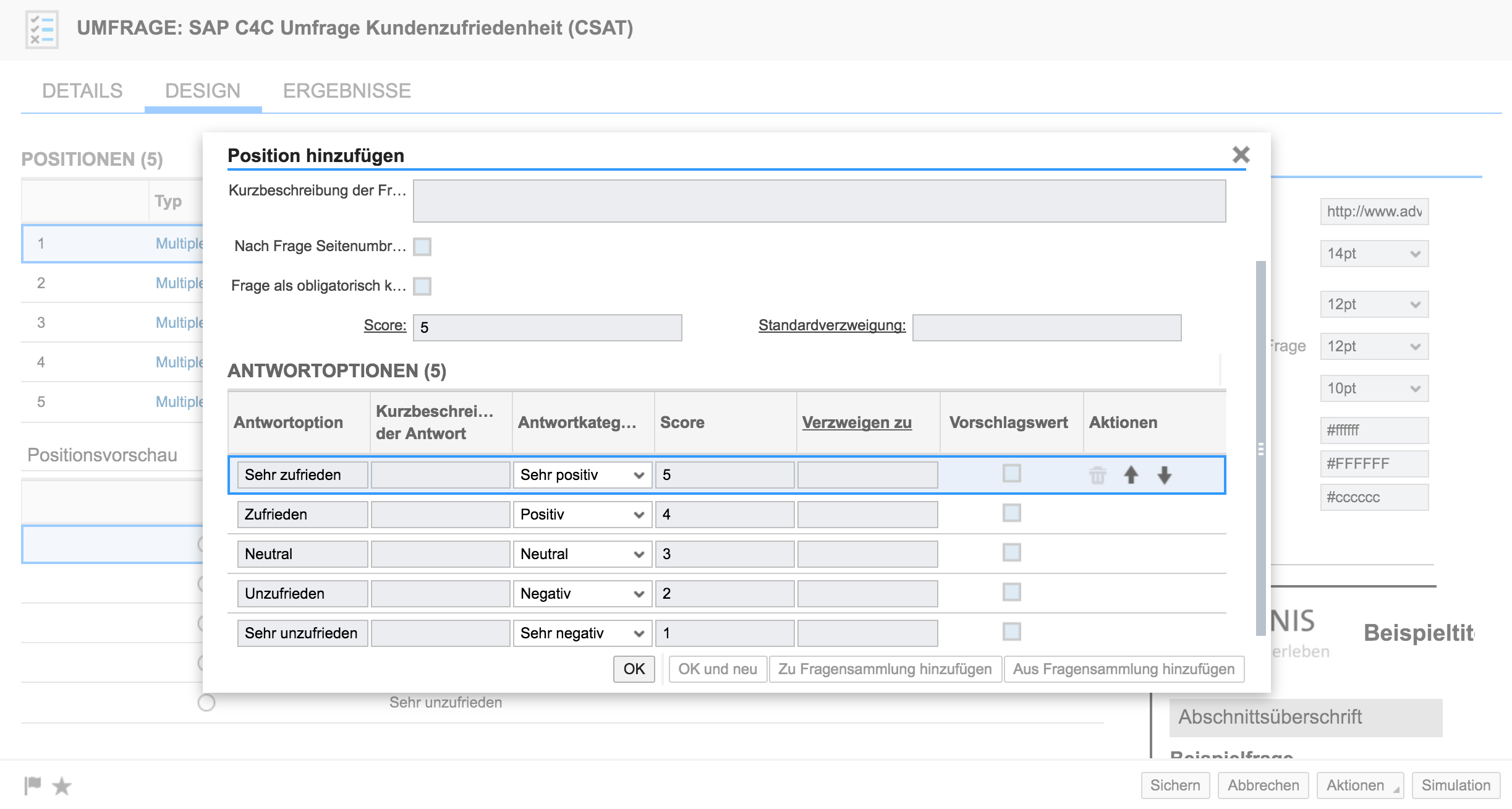 Erstellen des CSAT in SAP Hybris Cloud for Customer