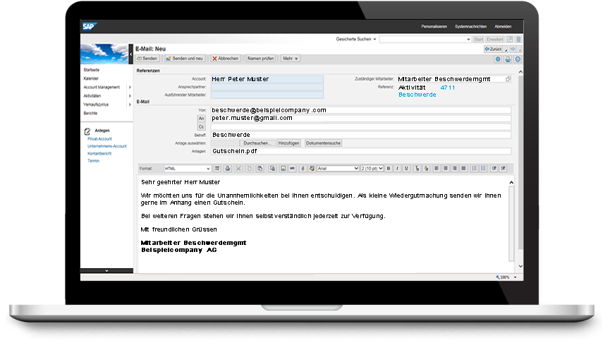 Screenshot SAP CRM Antwort Beschwerdemanagement