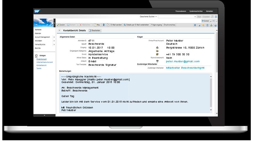 Screenshot SAP CRM Eingang Beschwerdemanagement