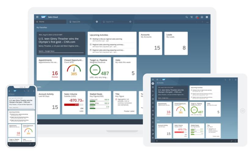 Übersicht SAP Sales Cloud auf verschiedenen Endgeräten