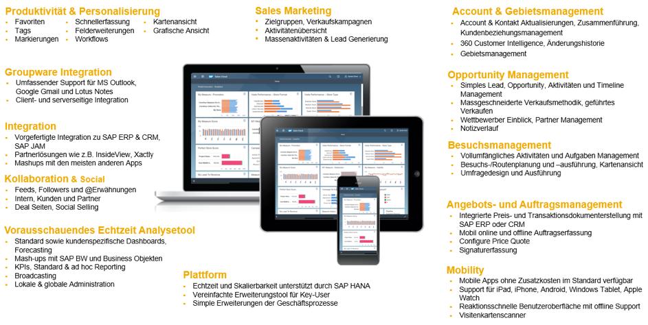 Volle Bandbreite der SAP Sales Cloud Funktionalitäten