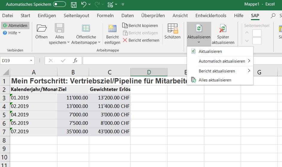 Mit dem SAP Sales Cloud Excel Add-In kann man in Echtzeit Reports erstellen.