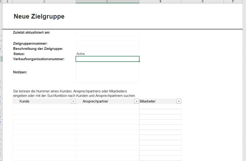 Ansicht vom Anlegen einer Zielgruppe mit dem SAP Sales Cloud Excel Add-In