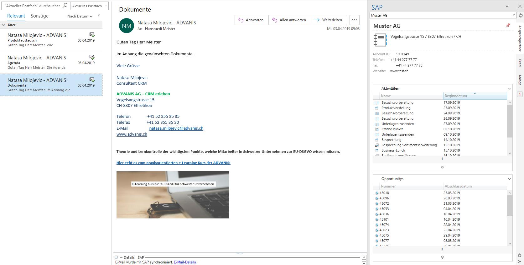 Darstellung des E-Mail-Postfachs in der SAP Sales Cloud mit Outlook