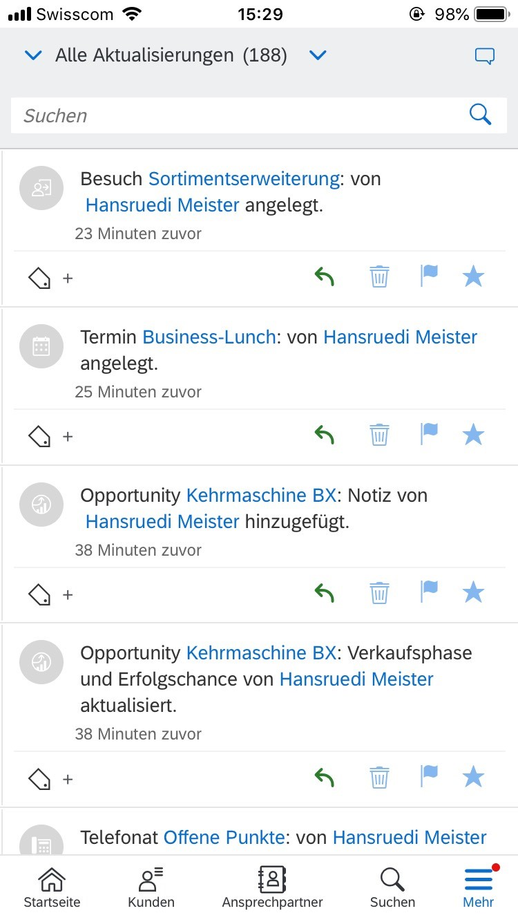 "Verbesserte Kommunikationsmöglichkeiten in der App ""Cloud for Customer Extended Edition"""