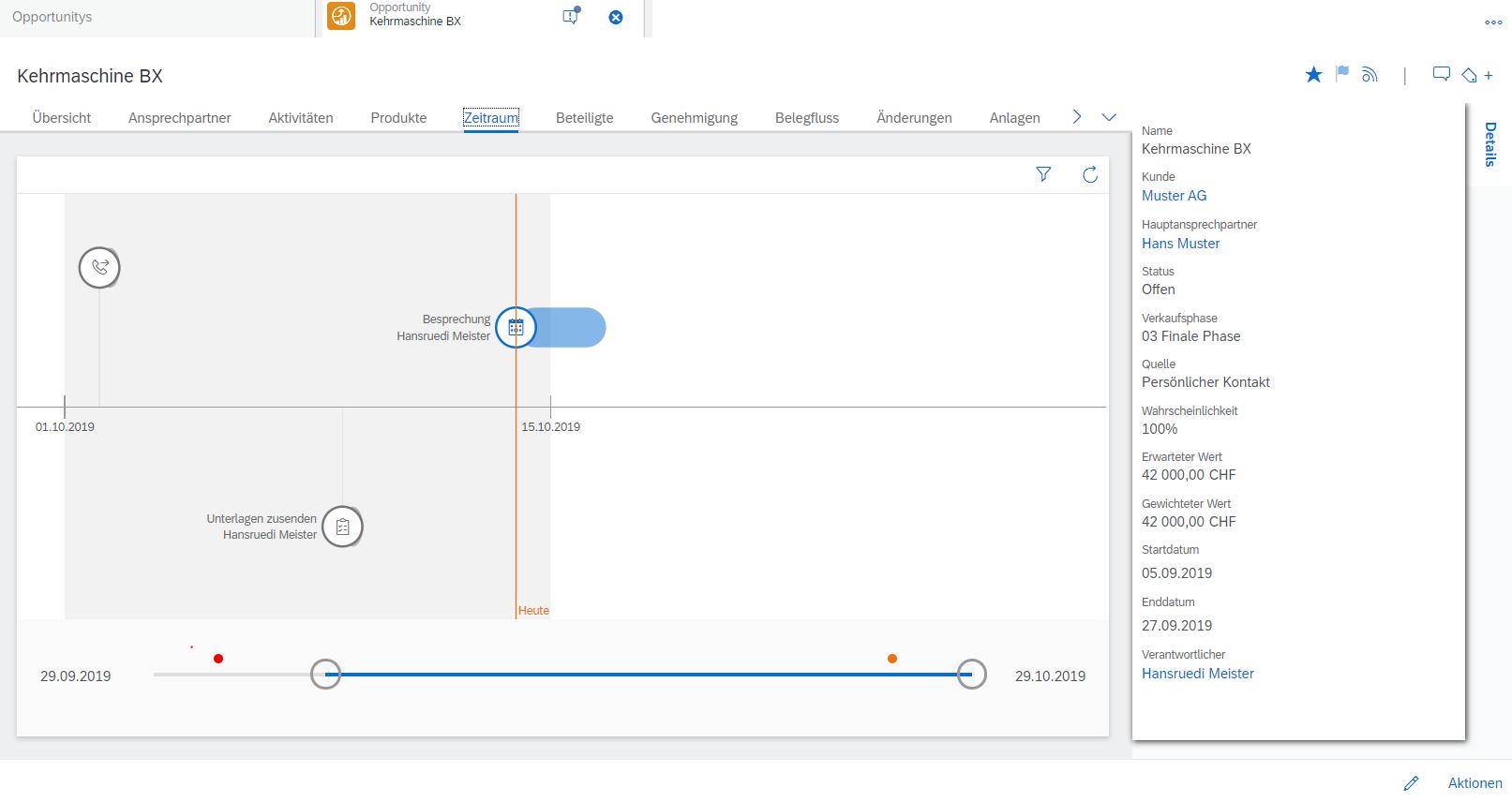 Mit den SAP Sales Cloud Opportunity Zeitschienen verliert man nie die Übersicht über das eigene Opportunity Management.